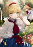 absurdres alice_margatroid blonde_hair blue_dress blue_eyes bug butterfly daimaou_ruaeru dress highres insect leaf light_smile multiple_girls picnic picnic_basket red_ribbon red_scarf ribbon scarf shanghai_doll smile touhou white_shawl