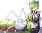 1girl antennae apron double_bun eyebrows_visible_through_hair frilled_sleeves frills garter_straps green_eyes green_hair hair_over_one_eye insect_girl long_sleeves looking_at_viewer maid maid_headdress mantis_girl mole mole_under_eye monster_girl original plan_(planhaplalan) short_hair simple_background smile solo white_apron white_background white_garter_straps wide_sleeves