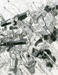 2boys alex_milne arm_cannon autobot clenched_hands commission dated decepticon explosion fighting gun highres holding holding_gun holding_weapon looking_down mecha megatron monochrome multiple_boys no_humans open_mouth optimus_prime traditional_media transformers weapon white_eyes