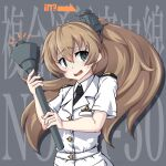1girl 547th_sy alternate_costume arrow_(symbol) background_text black_neckwear blue_eyes brown_hair commentary_request embarrassed grey_background highres kantai_collection kumano_(jmsdf) kumano_(kantai_collection) long_hair looking_at_viewer military military_uniform naval_uniform necktie ponytail solo torch uniform wavy_mouth