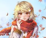 1girl arm_cuffs autumn_leaves bird bird_hair_ornament blonde_hair blue_background blush buttons chicken closed_mouth coat commentary_request egg_hair_ornament eyelashes falling_leaves food_themed_hair_ornament fringe_trim fur_scarf hair_ornament hairpin hand_up hoshiringo0902 leaf lips long_sleeves looking_at_viewer nail_polish niwatari_kutaka orange_eyes orange_nails red_scarf scarf short_hair sidelocks sky smile solo touhou upper_body white_coat
