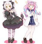2girls alternate_costume animal_ears blush casual cat_ears cat_tail commentary_request detached_sleeves fang gothic_lolita hololive lolita_fashion long_hair low_braid medium_hair minato_aqua multiple_girls murasaki_shion open_mouth pantyhose silver_hair simple_background smug surprised tail tonz159 twintails violet_eyes white_background yellow_eyes