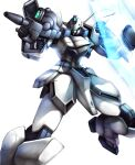 absurdres beam_rifle blue_eyes clenched_hands energy_gun energy_shield gun gun-ez gundam haganef highres holding holding_gun holding_weapon looking_to_the_side mecha no_humans solo victory_gundam weapon white_background