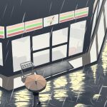 7-eleven avogado6 bag black_footwear brand_name_imitation convenience_store doormat from_above grey_pants holding holding_bag long_sleeves night orange_umbrella original outdoors pants rain ripples sandals shop theft umbrella umbrella_stand walking white_skin