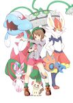 1girl brown_eyes daive ferrothorn gen_4_pokemon gen_5_pokemon gen_7_pokemon gloria_(pokemon) highres mimikyu miniskirt poke_ball pokemon pokemon_(creature) pokemon_(game) pokemon_swsh rotom rotom_(wash) short_hair skirt white_background