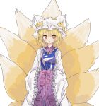 1girl absurdres animal_ears blonde_hair blush breasts commentary_request cowboy_shot fox_ears fox_tail hat highres long_sleeves looking_at_viewer medium_breasts mob_cap multiple_tails orange_eyes parted_lips short_hair simple_background sleeves_past_wrists solo standing tabard tail touhou white_background white_headwear white_robe wide_sleeves yakumo_ran zabuton_(mgdw5574)