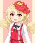 1girl :d animal_on_head apron bird black_bow black_neckwear blonde_hair blush bow bowtie breasts chick collared_shirt commentary eyebrows_visible_through_hair fang feathered_wings hat highres kfc long_sleeves mixed-language_commentary multicolored_hair niwatari_kutaka on_head open_mouth pillarboxed pink_background red_apron red_eyes red_headwear redhead shiny shiny_hair shirt short_hair simple_background small_breasts smile solo tilt_gyx touhou two-tone_hair upper_body white_shirt wings