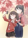 2girls autumn_leaves blue_hair brown_hair brown_skirt cellphone facing_to_the_side flat_chest hakama highres holding holding_phone houshou_(kantai_collection) japanese_clothes kantai_collection kappougi kariginu kimono magatama multiple_girls phone ponytail ryuujou_(kantai_collection) self_shot skirt smartphone tama_(seiga46239239) tasuki twintails upper_body
