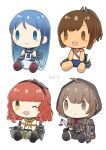 bangs bell blue_hair blush_stickers braid brown_hair capelet character_doll closed_mouth de_ruyter_(kantai_collection) doll eyebrows_visible_through_hair gloves headgear highres hood hood_up hooded_capelet i-401_(kantai_collection) kantai_collection long_hair long_sleeves no_humans one_eye_closed open_mouth ponytail redhead sailor_collar samidare_(kantai_collection) school_swimsuit school_uniform serafuku shinshuu_maru_(kantai_collection) short_sleeves simple_background smile swimsuit swimsuit_under_clothes twin_braids white_background yamashiki_(orca_buteo)