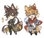 2boys animal_ears bangs black_suit blue_eyes brown_hair chibi childe_(genshin_impact) commentary dog_ears dog_tail fangs fingerless_gloves formal genshin_impact gloves highres jennygin2 jewelry long_hair mask mask_on_head multiple_boys necktie open_mouth orange_hair ponytail red_scarf scarf simple_background single_earring sparkle suit tail upper_teeth very_long_hair vision_(genshin_impact) white_background white_neckwear yellow_eyes zhongli_(genshin_impact)