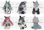 6+girls animal_ears aqua_eyes aqua_hair aqua_nails bangs black_bow blue_hair blunt_bangs bow breasts cat_ears cat_tail character_name copyright_name fingerless_gloves gloves green_hair grey_eyes grey_hair hair_bow hand_up heart highres long_hair medium_breasts midriff multiple_girls muted_color navel nekosuke_(oxo) pink_hair red_eyes red_nails short_hair sleeves_past_wrists small_breasts tail valis_(youtube) white_gloves yellow_eyes
