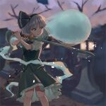 1girl 5alive black_ribbon blurry blurry_background bob_cut breasts commentary_request depth_of_field feet_out_of_frame flower green_eyes green_skirt green_vest hair_ribbon hairband highres hitodama holding holding_sword holding_weapon katana knees_together_feet_apart kodachi konpaku_youmu konpaku_youmu_(ghost) lamp looking_to_the_side object_behind_back parted_lips puffy_short_sleeves puffy_sleeves ribbon sheath sheathed short_hair short_sleeves short_sword silver_hair skirt skirt_set small_breasts solo standing sword touhou tree v-shaped_eyebrows vest weapon