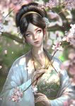 1girl abigail_diaz avatar:_the_last_airbender avatar_(series) black_hair blind cherry_blossoms china_dress chinese_clothes crystal dress gem glitter gold hair_bun hair_ornament hanfu highres long_hair looking_at_viewer older portrait robe serious toph_bei_fong traditional_clothes traditional_dress tree tree_branch white_eyes