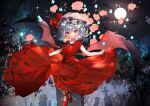 1girl alternate_costume bat bat_wings black_ribbon blue_hair closed_mouth clouds commentary_request dress flower full_body full_moon graveyard hat lifted_by_self looking_at_viewer mary_janes mob_cap moon night night_sky omodaka_romu pink_flower red_dress red_eyes red_footwear remilia_scarlet ribbon rose shoes short_hair skirt skirt_lift sky smile solo sparkle symbol_commentary tombstone touhou white_headwear wings