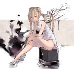 1girl bangs bare_arms bare_legs bare_shoulders blue_eyes brown_hair china_dress chinese_clothes closed_mouth commentary_request crossed_legs daima_hmw dated double_bun dress eyebrows_behind_hair flower full_body girls_frontline grey_dress grey_footwear hair_between_eyes high_heels highres ink long_hair looking_at_viewer shoes signature sitting sleeveless sleeveless_dress smile solo suomi_kp31_(girls_frontline) tree_branch twintails very_long_hair white_flower