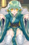 1girl dragon_girl dragon_horns fate/grand_order fate_(series) futon garter_straps green_hair green_kimono highres horns indoors japanese_clothes kimono kiyohime_(fate/grand_order) long_hair looking_at_viewer morizono_shiki multiple_horns obi pelvic_curtain sash seiza sitting solo thigh-highs white_legwear wide_sleeves yellow_eyes