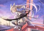 1girl absurdres animal_ear_fluff animal_ears arknights bow_(weapon) building cloak compound_bow grey_hair highres hitsuji_no_rice holding holding_bow_(weapon) holding_weapon horse_ears horse_girl horse_tail huge_filesize long_hair looking_at_viewer platinum_(arknights) shorts solo squatting tail weapon white_cloak white_hair white_shorts