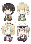 :o bangs black_hair blonde_hair blush_stickers capelet character_doll cup doll dress eyebrows_visible_through_hair graf_zeppelin_(kantai_collection) hair_ribbon hat headphones headset highres janus_(kantai_collection) japanese_clothes kantai_collection kasuga_maru_(kantai_collection) long_hair maid_headdress military military_uniform no_humans open_mouth peaked_cap ponytail ribbon rigging sailor_collar sailor_dress shin'you_(kantai_collection) short_hair simple_background smile taiyou_(kantai_collection) teapot twintails uniform white_background yamashiki_(orca_buteo)