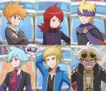 6+boys bangs beldum black_jacket black_sweater blonde_hair blue_eyes blue_hair blue_jacket blue_oak blurry blurry_background clenched_teeth closed_eyes closed_mouth collarbone collared_shirt commentary_request crossed_arms eyebrows_visible_through_hair eyewear_on_head gen_3_pokemon grey_eyes guzma_(pokemon) highres jacket jewelry long_sleeves looking_to_the_side male_focus morty_(pokemon) multicolored_hair multiple_boys necklace orange_hair pokemoa pokemon pokemon_(game) pokemon_dppt pokemon_hgss pokemon_masters_ex pokemon_oras pokemon_sm purple_headband purple_scarf red_neckwear redhead scarf shirt silver_(pokemon) smile spiky_hair steven_stone sunglasses sweater teeth thought_bubble turtleneck two-tone_hair volkner_(pokemon) white_hair white_shirt yellow-framed_eyewear