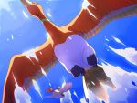 closed_mouth clouds commentary_request day flying from_below gen_1_pokemon gen_2_pokemon highres ho-oh kino_(sea55tea) legendary_pokemon orange_eyes pidgeot pokemon pokemon_(creature) sky spread_wings talons