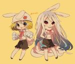 1girl animal_ears bangs black_sclera black_skirt blonde_hair blush breasts carrot_(one_piece) chibi gloves hat large_breasts long_hair one_piece open_mouth paw_gloves paws rabbit_ears rabbit_girl red_eyes short_hair simple_background skirt sleeveless smile tail tokuura white_hair yellow_background