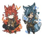 2boys animal_ears bangs belt black_clothes black_pants black_suit blue_cape blue_eyes blue_hair cape chibi commentary dark_skin diluc_(genshin_impact) dog_ears dog_tail expressionless eyepatch fire formal full_body fur_cape genshin_impact grin highres jennygin2 kaeya_(genshin_impact) long_hair male_focus multiple_belts multiple_boys pants red_eyes redhead side_ponytail sidelocks simple_background smile snowflakes suit tail vision_(genshin_impact) white_background
