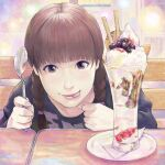 1girl :p blush braid brown_eyes brown_hair fingernails food highres holding holding_spoon ice_cream long_sleeves looking_at_viewer original pov_across_table realistic sakkan shirt smile solo spoon tongue tongue_out tray twin_braids