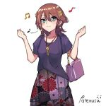 1girl :3 alternate_costume bag beamed_eighth_notes blouse brown_hair commentary_request cowboy_shotw eighth_note flipped_hair floral_print green_eyes hi hiei_(kantai_collection) highres jewelry kantai_collection long_skirt musical_note necklace patenusu pleated_skirt purple_blouse short_hair simple_background skirt solo unmoving_pattern