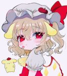 1girl :t animal_ears artist_name ascot bandaid beret blonde_hair chromatic_aberration eyebrows_visible_through_hair eyes_visible_through_hair flandre_scarlet hair_between_eyes hat highres medium_hair mob_cap one_side_up pointy_ears pompompurin pout puffy_short_sleeves puffy_sleeves red_eyes renakobonb ribbon sanrio short_sleeves simple_background solo touhou twitter_username white_background wings yellow_neckwear