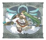 1girl armlet bangle bangs bare_shoulders black_eyes black_footwear bracelet bracer circlet clouds collarbone dress full_body goddess green_hair jewelry kid_icarus long_hair looking_away nishikuromori palutena parted_bangs pigeon-toed shield shoes sidesaddle simple_background sitting solo staff staff_riding straight_hair strapless strapless_dress very_long_hair white_background white_dress white_legwear