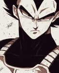1boy armor bangs closed_mouth dragon_ball dragon_ball_z frown greyscale hair_between_eyes highres looking_at_viewer male_focus monochrome portrait saiyan_armor short_hair signature simple_background sketch solo sumutemu v-shaped_eyebrows vegeta widow's_peak