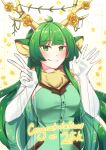 1girl absurdres animal_ears antlers bangs blunt_bangs blush breasts congratulations flower followers fur_scarf gloves green_eyes green_hair haruka_karibu highres indie_virtual_youtuber long_hair medium_breasts moose_ears moose_girl open_hand plant rose scarf shinomiya_arts smile solo v very_long_hair vines virtual_youtuber white_gloves yellow_flower yellow_rose