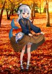 1girl :o autumn autumn_leaves bangs black_footwear bloop_(gawr_gura) blue_eyes blue_hair blue_shirt blunt_bangs bow braid brown_dress dress dress_lift eyebrows_visible_through_hair fish_tail full_body gawr_gura green_bow hair_bow hair_ornament highres hololive hololive_english kura_noi mary_janes multicolored_hair outdoors pinecone shark_hair_ornament shark_tail sharp_teeth shirt shoes socks standing striped striped_shirt sweatshirt tail teeth tree two-tone_hair white_hair white_legwear