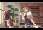 2girls alice_margatroid arm_up black_hair blonde_hair blue_dress blue_eyes book bookshelf bow brown_eyes capelet chair cookie cream_puff cup day detached_sleeves dress food fruit hair_bow hair_tubes hairband hakurei_reimu highres holding holding_cookie holding_cup indoors letterboxed light_frown light_smile lolita_hairband looking_at_another looking_to_the_side medium_hair multiple_girls ookashippo paper plant plate potted_plant red_neckwear red_vest sash saucer short_hair sitting standing strawberry table teacup teapot touhou vest white_capelet window yellow_neckwear