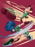 2girls blonde_hair blue_eyes blue_hair boots braid cammy_white capcom coinboxtees combat_boots fighting_stance fingerless_gloves gloves green_jacket green_shorts hat jacket leona_heidern leotard multiple_girls muscle muscular_female ponytail shorts snk street_fighter the_king_of_fighters