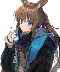 1girl amiya_(arknights) animal_ears arknights ascot black_jacket blue_eyes brown_hair choker finger_heart heart highres jacket long_hair long_sleeves looking_at_viewer mid_(gameshe) multiple_rings open_clothes open_jacket ponytail rabbit_ears shirt simple_background smile solo upper_body white_background white_shirt