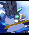 aiming artist_name blue_eyes close-up g.yamamoto glowing glowing_eyes gundam gundam_00_sky_moebius gundam_build_diver_rize gundam_build_divers gundam_build_divers_re:rise gundam_destiny_sky highres looking_up mecha no_humans science_fiction sky solo v-fin