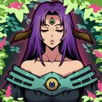 1girl akairiot bare_shoulders blue_eyes closed_eyes dress duel_monster eyelashes flower green_sclera highres leaf long_hair off-shoulder_dress off_shoulder parted_lips pink_flower plant purple_hair solo third_eye upper_body witch_of_the_black_forest yu-gi-oh!