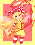 1girl :d arm_above_head arm_at_side blonde_hair blush border breasts clownpiece commentary_request cosplay dress eyebrows_visible_through_hair fairy_wings fang feet_out_of_frame hair_between_eyes hat highres holding holding_torch jester_cap long_hair looking_at_viewer mcdonald's open_mouth pink_headwear polka_dot red_background red_eyes ronald_mcdonald ronald_mcdonald_(cosplay) shiny shiny_hair simple_background skin_fang small_breasts smile solo standing striped striped_legwear striped_sleeves thigh-highs tilt_gyx torch touhou very_long_hair wings yellow_dress zettai_ryouiki zipper_pull_tab