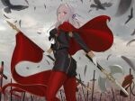 absurdres ass axe bird blue_eyes breasts cape clouds cloudy_sky crow eagle eagle_union_(emblem) edelgard_von_hresvelg fire_emblem fire_emblem:_three_houses flag gloves grey_background hair_ribbon highres looking_at_viewer quatthro red_cape ribbon sky sword uniform weapon white_gloves white_hair