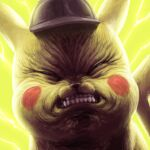 clenched_teeth closed_eyes deerstalker detective_pikachu detective_pikachu_(character) detective_pikachu_(movie) electricity face gen_1_pokemon grimace hat hatted_pokemon highres meme no_humans pikachu pokemon pokemon_(creature) portrait sakkan solo teeth wrinkled_frown_(detective_pikachu)