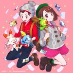 1boy 1girl aizawa_(nh_st) backpack bag bangs beanie bob_cut boots brown_bag brown_eyes brown_footwear brown_hair buttons cable_knit calyrex cardigan closed_mouth collared_dress commentary_request dated dracovish dress eyebrows_visible_through_hair gen_8_pokemon gloria_(pokemon) green_headwear green_legwear grey_cardigan grey_headwear grookey hat highres holding holding_pokemon hop_(pokemon) kubfu legendary_pokemon looking_at_viewer photo_(object) pink_dress plaid plaid_legwear pokemon pokemon_(creature) pokemon_(game) pokemon_swsh red_shirt scorbunny shirt shoes short_hair sleeves_rolled_up smile sobble socks starter_pokemon_trio suitcase swept_bangs tam_o'_shanter victor_(pokemon) watermark zacian zacian_(hero) zamazenta zamazenta_(hero)