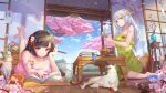 2girls absurdres barefoot blush book book_stack brown_hair bug butterfly calendar cat chengchenwang cherry_blossoms cup dress feet flower flower_pot green_dress hair_flower hair_ornament highres holding holding_cup indoors insect legs_up long_hair looking_at_viewer lying md5_mismatch multiple_girls on_stomach open_door original pink_dress reading siamese_cat sitting sliding_doors soles spring_(season) sundress table tea teacup teapot vase wariza white_hair wooden_floor