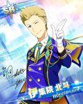 blonde_hair blue_eyes character_name dress idolmaster idolmaster_side-m ijuuin_hokuto short_hair smile