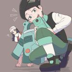1boy 1girl ? arupaka_(user_nkxd4384) beanie black_hair blush boots bronzong closed_mouth commentary_request dawn_(pokemon) gen_4_pokemon green_eyes green_hair green_pants hair_ornament hairclip half-closed_eyes hat leaning_forward long_hair multicolored_hair open_mouth pants pink_footwear pokemon pokemon_(creature) pokemon_(game) pokemon_dppt pokemon_platinum scarf shoes squatting standing teeth thorton_(pokemon) tongue two-tone_hair white_headwear white_legwear white_scarf