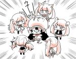 6+girls bow carlos_hakamada_(style) chibi dress emphasis_lines hair_bow hat hatsune_miku hood hoodie jitome monochrome multiple_girls otomachi_una pink_theme project_sekai simple_background surrounded sweat sweating_profusely tiishi_(7_takada_7) twintails vocaloid white_background