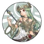 1girl armlet armor bare_shoulders belt belt_buckle bracelet brown_belt buckle circlet closed_mouth collarbone detached_wings green_hair halo holding holding_polearm holding_weapon jewelry kid_icarus long_hair necklace nishikuromori palutena pauldrons polearm red_eyes shield shoulder_armor simple_background single_pauldron solo super_smash_bros. vambraces weapon white_background wings