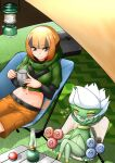 1girl :d ^_^ bangs belt black_belt black_hair black_shirt blunt_bangs blush breasts brown_eyes brown_hair brown_shorts camping camping_chair closed_eyes coffee_mug commentary_request crop_top cropped_jacket cup eyebrows_visible_through_hair gardenia_(pokemon) gen_4_pokemon grass green_jacket groin gym_leader highres holding holding_cup jacket lantern long_sleeves looking_at_another medium_breasts midriff mug nabe_saori navel open_mouth orange_hair poke_ball poke_ball_(basic) pokemon pokemon_(game) pokemon_dppt roserade shadow shirt short_hair shorts sidelocks sitting smile sparkle steam tent