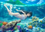 1girl barefoot bikini black_hair cat coral coral_reef fish freediving frilled_bikini frills higeneko highres island long_hair mountain original pillar ruins school_of_fish sea_turtle smile submarine summer swimming swimsuit turtle water_surface watercraft white_bikini