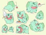 bell bowl bulbasaur cat_teaser claws closed_eyes curry drooling fangs food gelatin gen_1_pokemon highres kino_(sea55tea) lying no_humans on_side open_mouth poke_ball poke_ball_(basic) pokemon red_eyes saliva simple_background smile spoon tongue